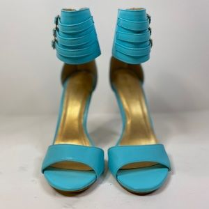 New Shoe Republic Turquois & Gold Heels Size 6.5
